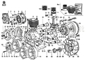 Picture of CONN.ROD/ PISTON/ CYLINDER/ CRANKSHAFT/ FLYWHEEL/ CRANKCASE/ FLANGING/ MOUNTS